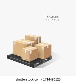 Boxes on wooden pallet. Cardboard parcel box with warehouse. logistic concept. 3d perspective illustration