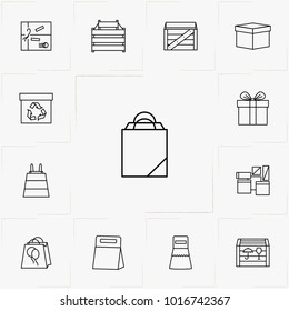 boxes and packages line icon set