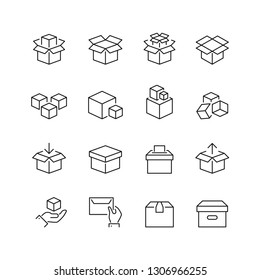 Boxes related icons: thin vector icon set, black and white kit