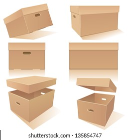 Cardboard�´s boxes set with handles and lids in different positions