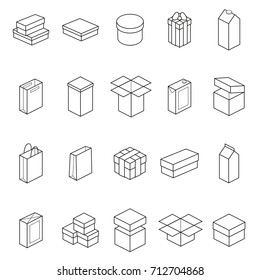 Boxes Thin Line Icon Set Different Types Big, Small, Round or Square for Web and App. Vector illustration of Box