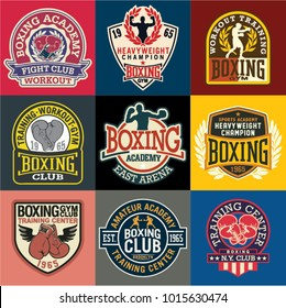 Boxing academy badges and symbols collection, vector set of 9 different patches for sports wear prints, embroideries, labels