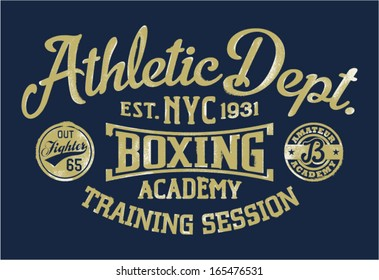 Boxing academy - Vintage vector artwork for sportswear in custom colors