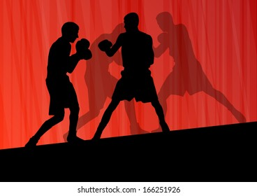 Boxing active young men box sport silhouettes vector abstract background illustration
