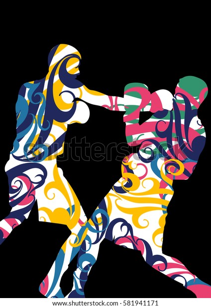 Boxing active young men box sport silhouettes vector abstract mosaic graphic background illustration
