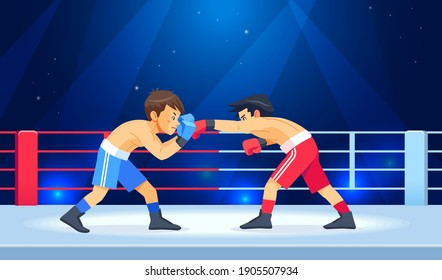 Boxing among boys on ring. Teen boxing, kickboxing children on arena. Children fight with these adult emotions. Popularization of sports and healthy lifestyle. Cartoon vector illustration isolated.