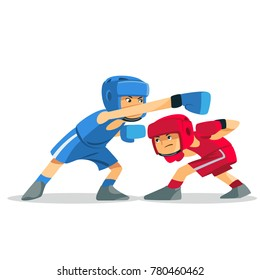 Boxing among children. Kids boxing, kickboxing children. Children fight with these adult emotions. Popularization of sports and healthy lifestyle. Vector illustration of boxing