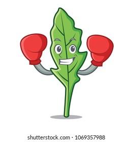 Boxing arugula character cartoon style vector illustration