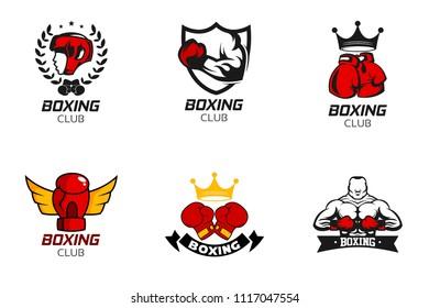 Boxing badge logo design template. Fighting sport emblem icon vector illustration