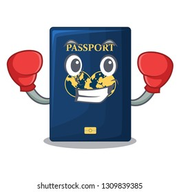 Boxing blue passport in the cartoon form