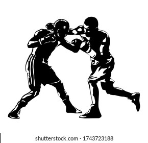 Boxing. Boxers fight duel Isolated on a white background. Black and white graphics. Vector illustration
