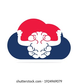Boxing brain in cloud shape logo concept design. Cloud brain logo vector design.
