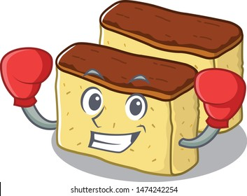 Boxing castella cake isolated in the cartoon
