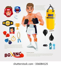 boxing character with gym training equipment - vector illustration