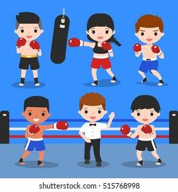 boxing characters set