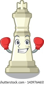 Boxing chess king isolated in the character