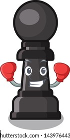 Boxing chess pawn isolated with the cartoon