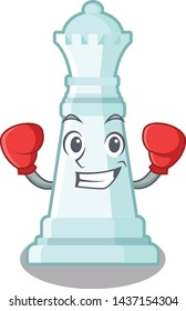 Boxing chess queen isolated in the character