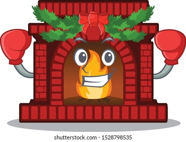 Boxing christmas fireplace isolated with the mascot