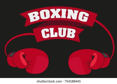Boxing club. Emblem. Boxing glove and ribbon with inscription.
