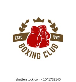 Boxing club. Emblem with boxing hand drawn boxing glove. Design element for logo, label, emblem, sign. Vector illustration