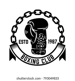 Boxing club. Emblem with boxing hand drawn boxing glove. Design element for logo, label, emblem, sign. Vector illustration