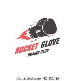 Boxing club emblem template. Rocket glove. Vector illustration
