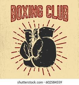Boxing club. Hand drawn boxing gloves on grunge background Design element for poster, emblem, badge. Vector illustration