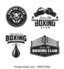 Boxing club labels emblems badges set. Boxing related design elements for prints, logos, posters. Vector vintage illustration.