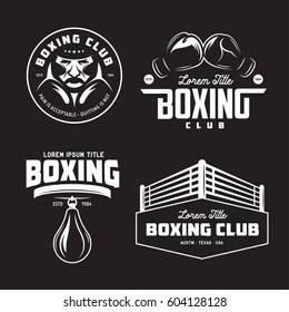 Boxing club labels emblems badges set. Boxing related design elements for prints, logos, posters. Vector vintage illustration.