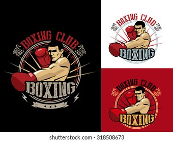 Boxing Club Logo Set. Boxing Emblem, Label, Badge, T Shirt design vector. Man in boxing gloves.