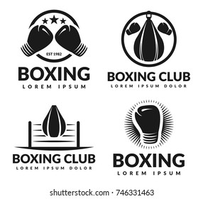 Boxing club logo set. Boxing vector design elements for prints, logos, posters.