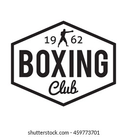 Boxing club and martial arts logo badge sport label in vintage fit style with lighting rays and boxer. Vector illustration. Boxing sport sign