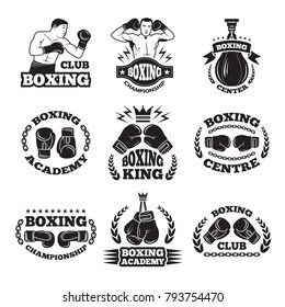 Boxing club, or mma fighting labels. Monochrome vector illustrations. Box badge and emblem with fighter