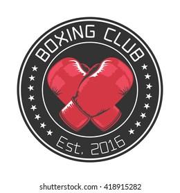 Boxing club vector logo, emblem, badge, sign. Illustration of medal with boxing gloves