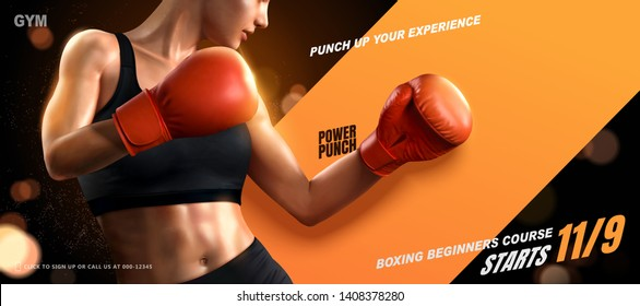 Boxing course banner ads with woman boxer on glitter background in 3d illustration