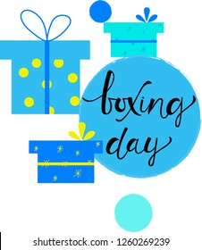 BOXING DAY, banner with Boxing Day lettering text on background of blue gift boxes. Celebration quotation for card, postcard, logo, badge. Vector illustration EPS