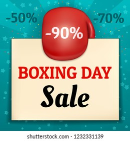 Boxing day banner. Realistic illustration of boxing day vector banner for web design