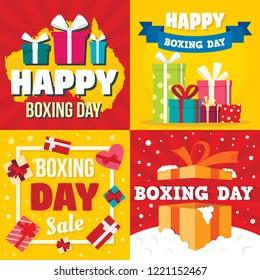 Boxing day banner set. Flat illustration of boxing day vector banner set for web design