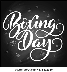 Boxing Day brush hand lettering, on chalkboard background. Vector illustration. Can be used for holidays festive design.