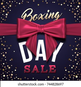 Boxing Day greeting card design with red realistic bow for sale and discount promotional.