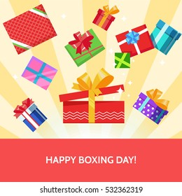 Boxing day greeting card lots of color gift box present surprise bow on textured background. Vector illustration flat color style