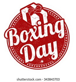 Boxing day grunge rubber stamp on white background, vector illustration