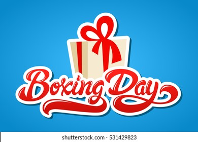 Boxing Day hand drawn lettering design vector illustration. Isolated letters and present box illustration on background.