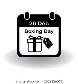 Boxing Day icon. Simple flat calendar page of december 26, Boxing Day with present box with discount tag. Eps 10 vector.