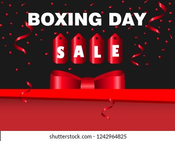 Boxing Day Sale Background for banner, flyer, brochure and posters in web and prints. Vector illustration shiny red ribbon bow and gift box with confetti in black background