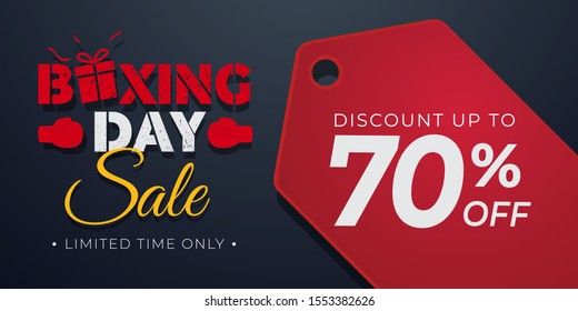Boxing Day sale Background with pricetag , Banner template, poster, flyer, discount, limited offer on black
