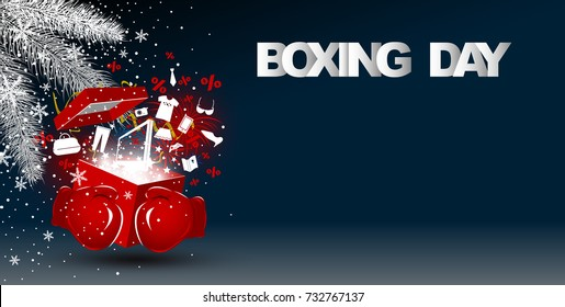 Boxing day sale concept design of red boxing gloves holding gift box with fashion icon and firework