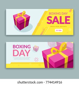 Boxing day sale design with colorful packaged gift box