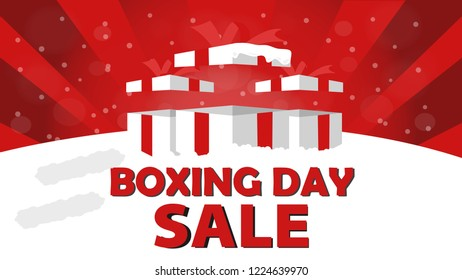 Boxing Day Sale Design with Gift Box, Snowfall, and Bokeh Effect.